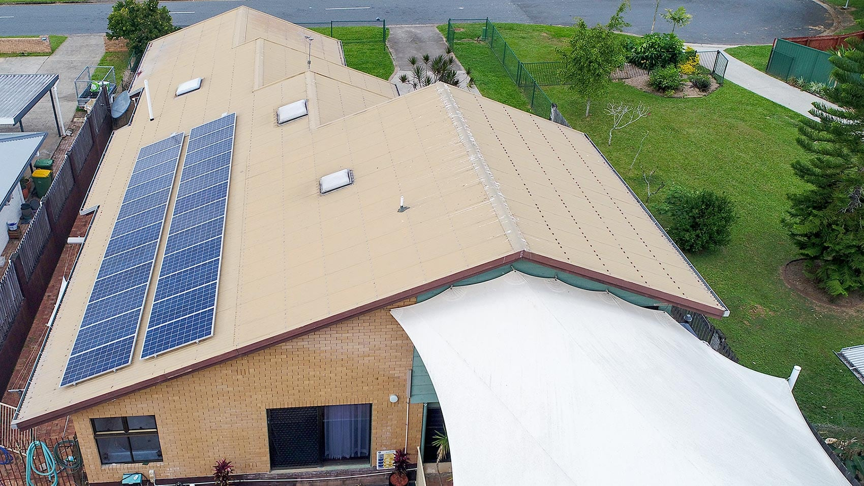 solar panels on the roof of a residence
