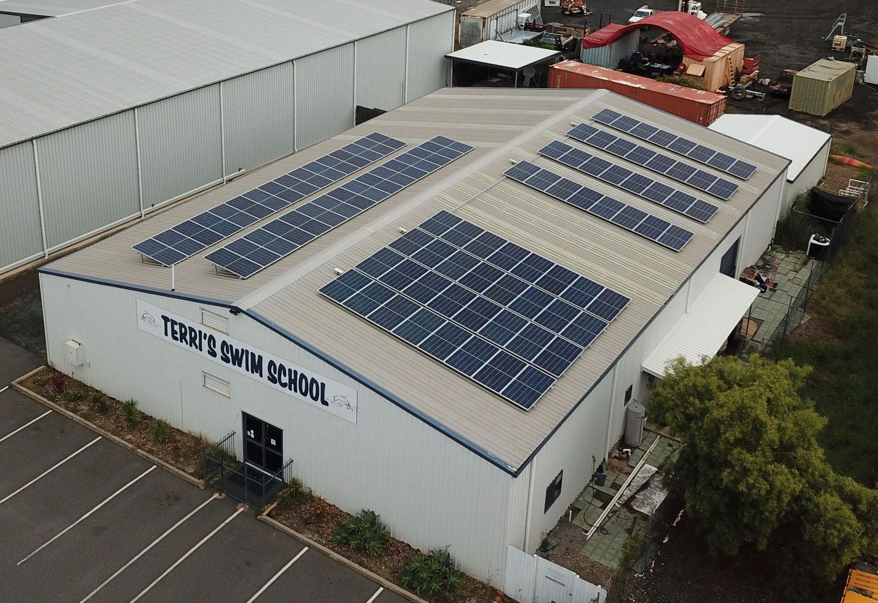 solar panels on the roof of the Terri swim school facility