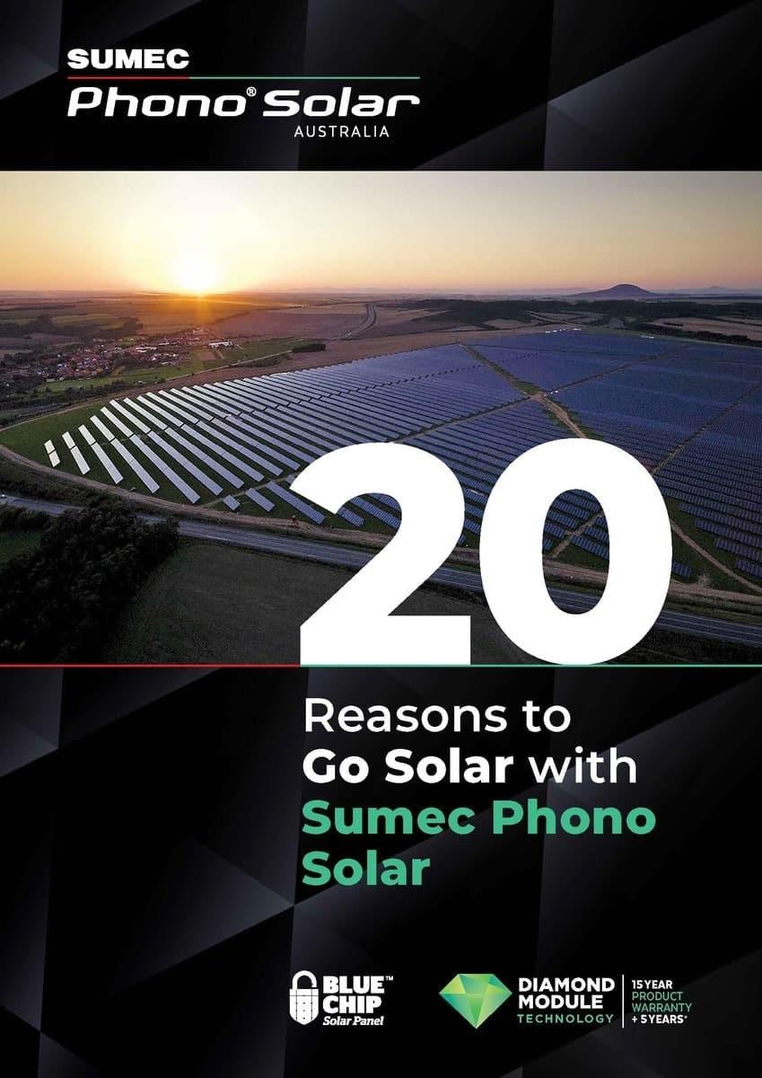 20 Reasons to Go Solar with Sumec Phono Solar brochure cover