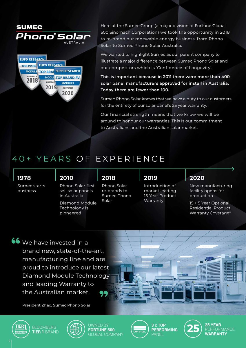 Sumer Phono Solar 40 years of experience brochure page 2