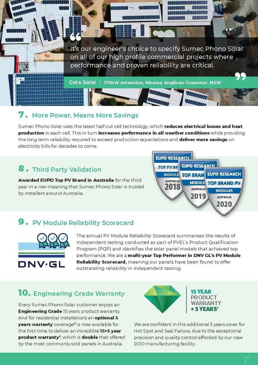 20 Reasons to Go Solar with Sumec Phono Solar brochure page 5