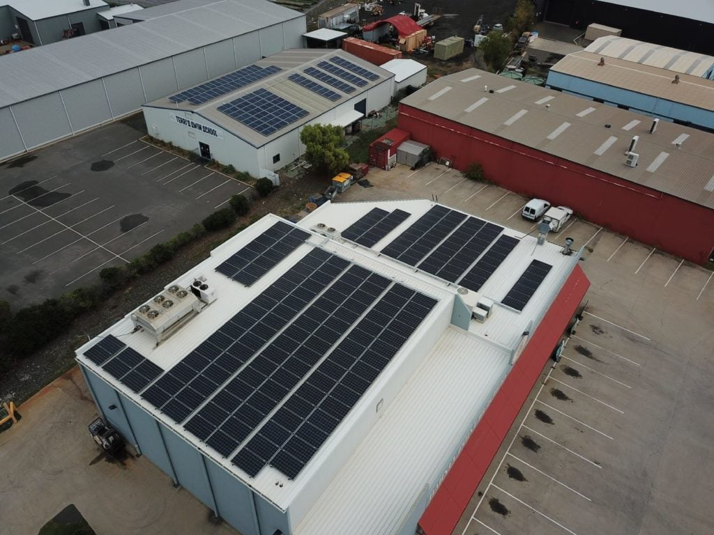 solar panels on roofs