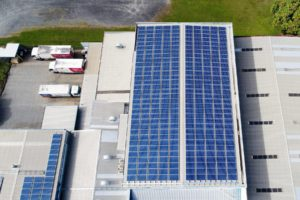 aerial view of solar panels on a building