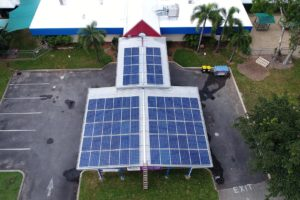 solar panels on the roof of a Cairns community child care centre